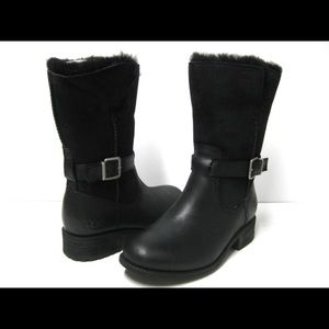 UGG Black Leather/Suedr Moto/Zip Detail 6 NIB